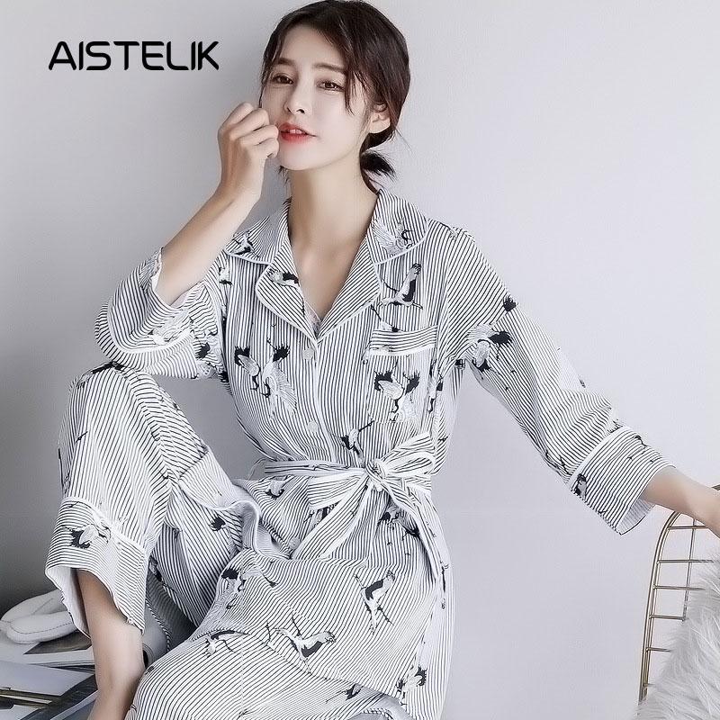 5ba0a55778 Cotton Three-piece Ladies Pajamas Autumn And Winter Korean Cotton ...