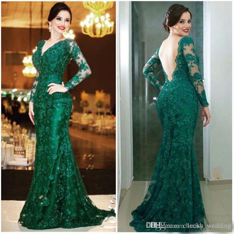 Emerald Green Prom Dresses 2018 Mermaid Lace Applique V Neck