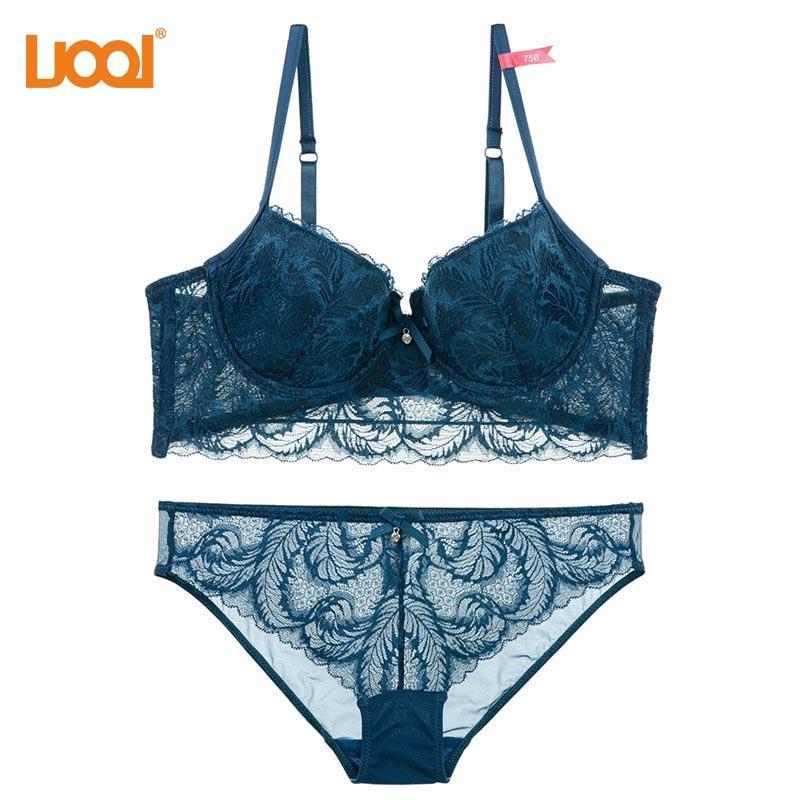 1f7dd433e1305 2019 Thin Cotton Underwear Women Set Embroidery 2018 Black Sexy Bra Panties  Sets Brand Lingerie Lace Brassiere Deep V Push Up Bras From Chengdaphone02