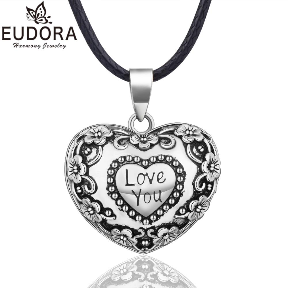 EUDORA Harmony Ball Necklace Heart Chime Bola Flower Pendant for Women Fashion Jewelry Gift Mexican Pregnancy Ball 45'' Chain