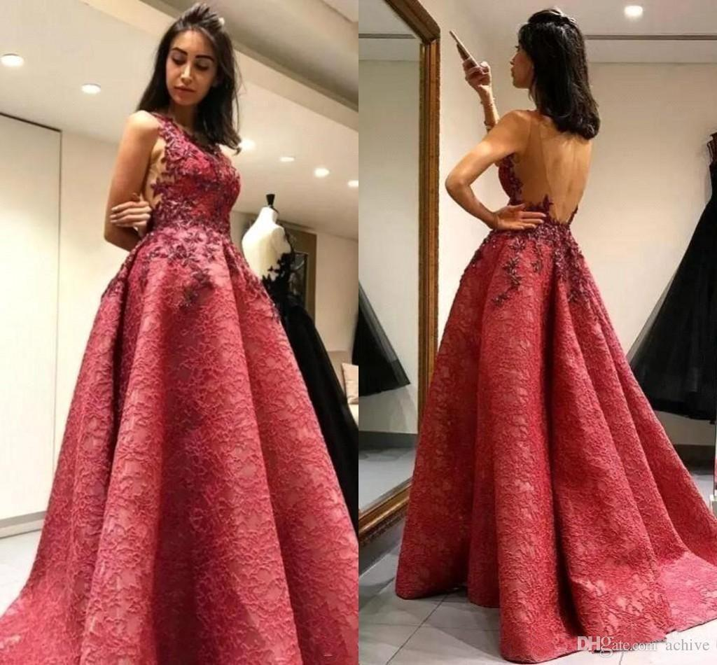 Hot Sale Lace Evening Dresses Backless Arabic Long Formal Gowns 2018 ...