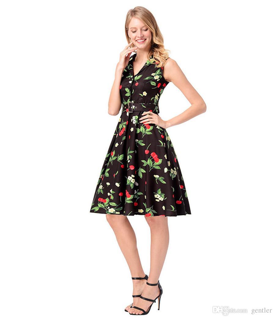 a35f3f14af Rockabilly Dresses Vintage Pin Up 60S 50S Summer Dress Casual Cute Cherry  Print Black White Cotton Retro Vestidos Robe HY 007 Prom Gowns Cute Dresses  For ...