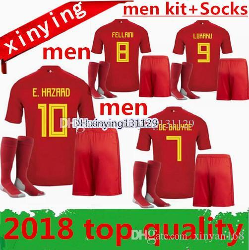 Cheap 2018 Belgium Home Me Soccer Jersey 18 19 Ktts Batshuayi LUKAKU  FELLAINI E.HAZARD KOMPANY DE BRUYE Belgium Football Shirt Men Sets 120a8ebdb