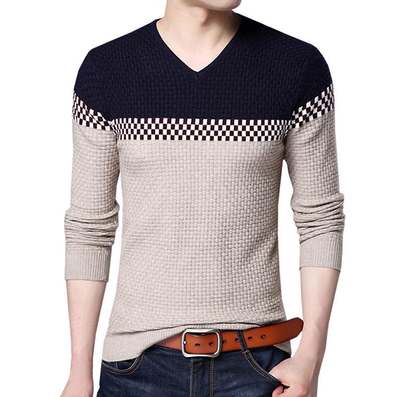 Pullover Pullover 2019 Herbst Neue Strick Männer Winter Pullover Baumwolle Patchwork Oansatz Kragen Pullover Grau Schlank Herrenmode Casual Heißer Verkauf
