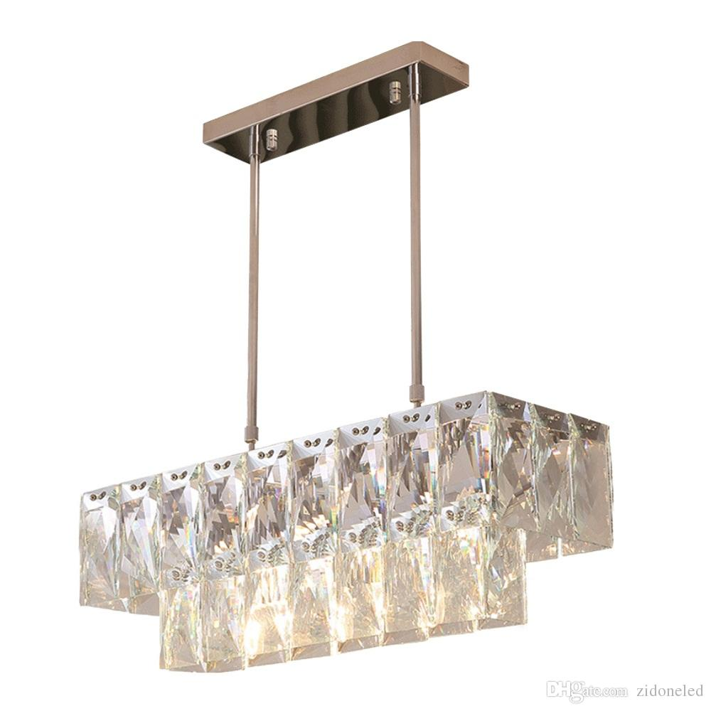 Modern Crystal Chandelier Rectangle Dining Room Lighting Fixtures Luxury Kitchen Island LED Lustres De Cristal Pendant Lamp Brass Gold