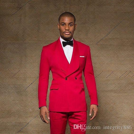Personalizar Slim Fit Noivo Vermelho TuxeDos Groomsmen xaile Lapela Breasted Breasted Melhor homem ternos Homens Casamento Suits jaqueta + calças + laços de laços nº; 37