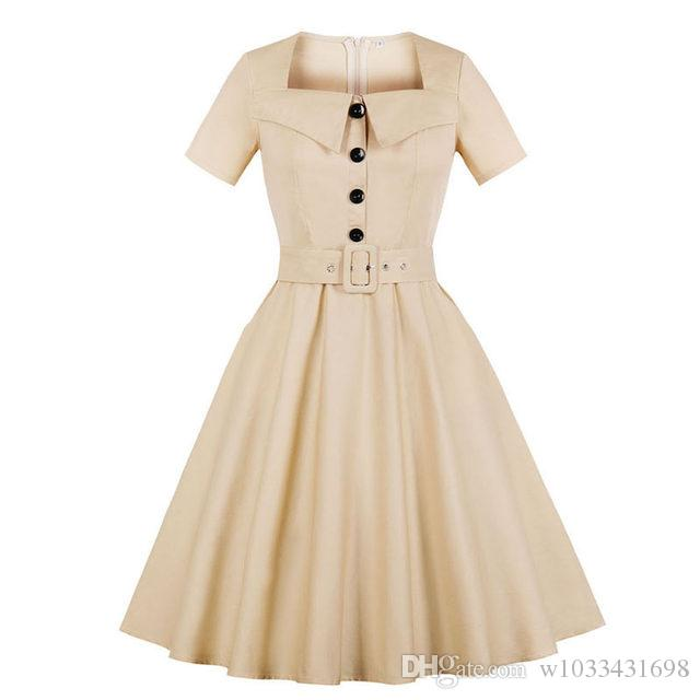 930adb6e75a3b Woman plus size dress 2018 summer Short Sleeve Elegant Audrey Hepburn Style  Rockabilly pin up Skater Dress with Pockets