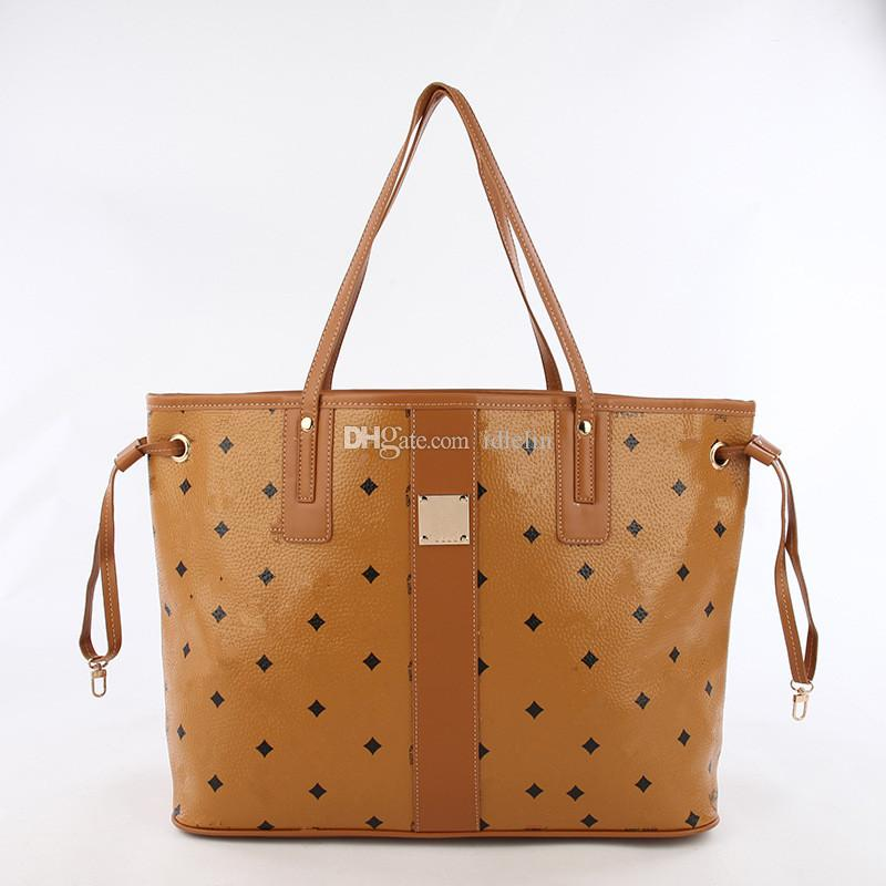 2018 classic hot sale fashion woman female lady letter leather Mc pattern totes shopping bag big handbag with small bag inside