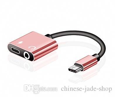 2 W 1 Typ C AUX AUDIO Kabel adapter USB Typ C do 3,5 mm Słuchawki Słuchawka Adapter do Samsung Smart Telefon 100 sztuk / partia