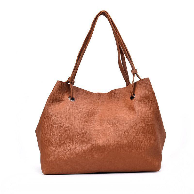63191e01fe Women Soft Pu Leather Big Tote Bag Casual Handbags Elegant Brown Simple  Shoulder Bags Large Capacity Shopping Bag For Ladies Cheap Designer Bags  Mens ...