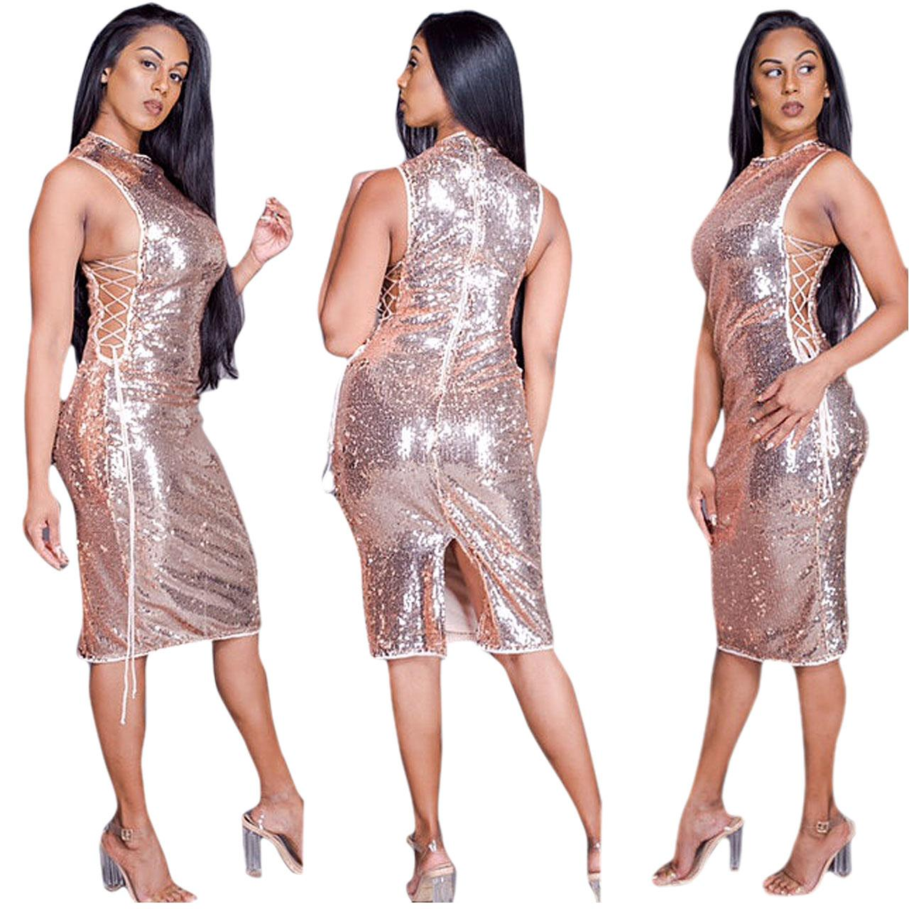 8d8550eeb3f0c 2019 Fashion Sexy Sequin Summer Dress Women Vestidos 2018 Gold Black V Neck  Backless Womens Luxury Nightclub Party Dresses Clothes 677 From Hengda999,  ...