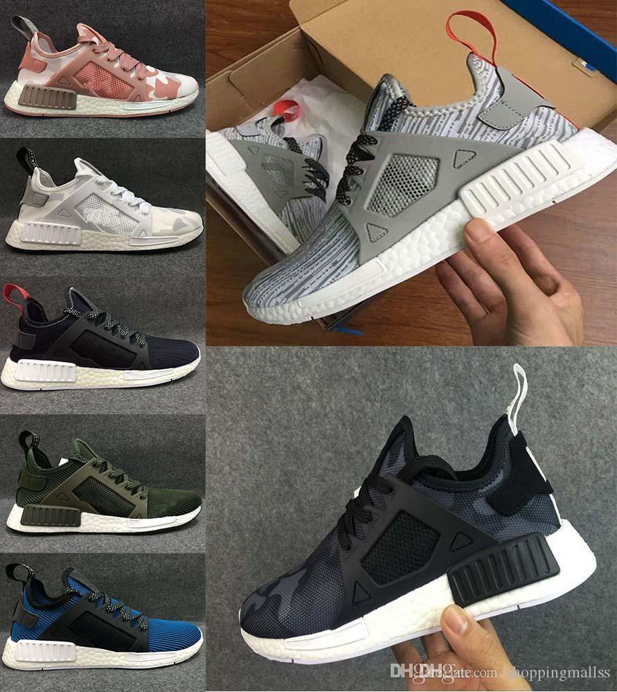 cheap for discount 05f20 89859 2017 NMD XR1 X Mastermind Japan Skull Glitch Black White Blue green Camo  Fall Olive Runing Shoes NMD Boost sporst sneakers Size 36-44