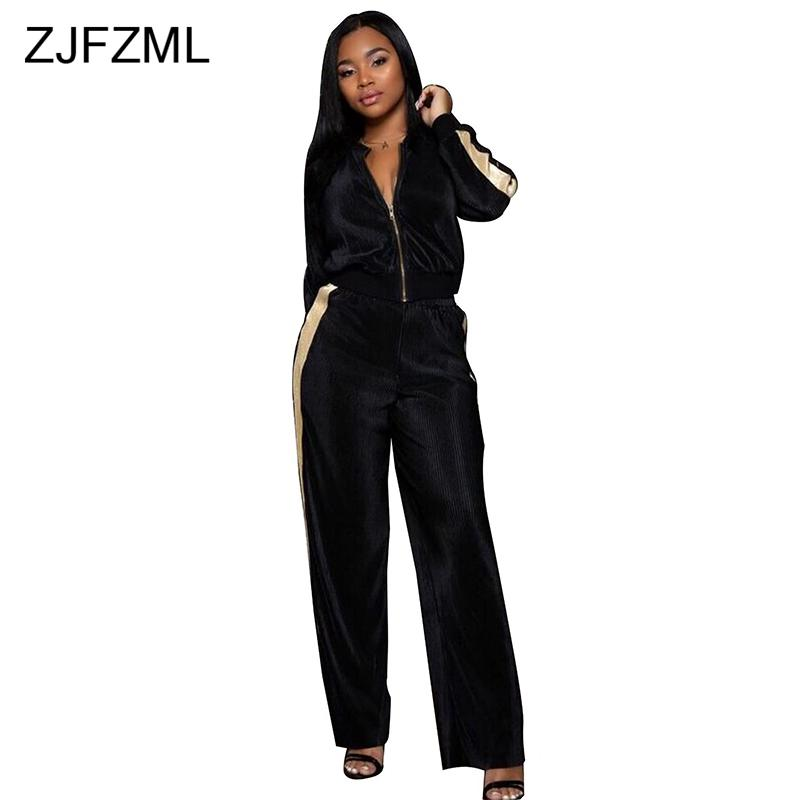 Velvet Sexy Two Piece Outfits For Women Long Sleeve Front Zipper ... ae8f16642b