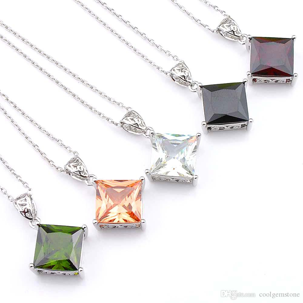 dca3c030e5 Half Dozen 5PCS/LOT Mix Color Square Crystal Peridot Gemstone 925 Sterling  Silver USA Israel Wedding Pendant Weddings Jewelry