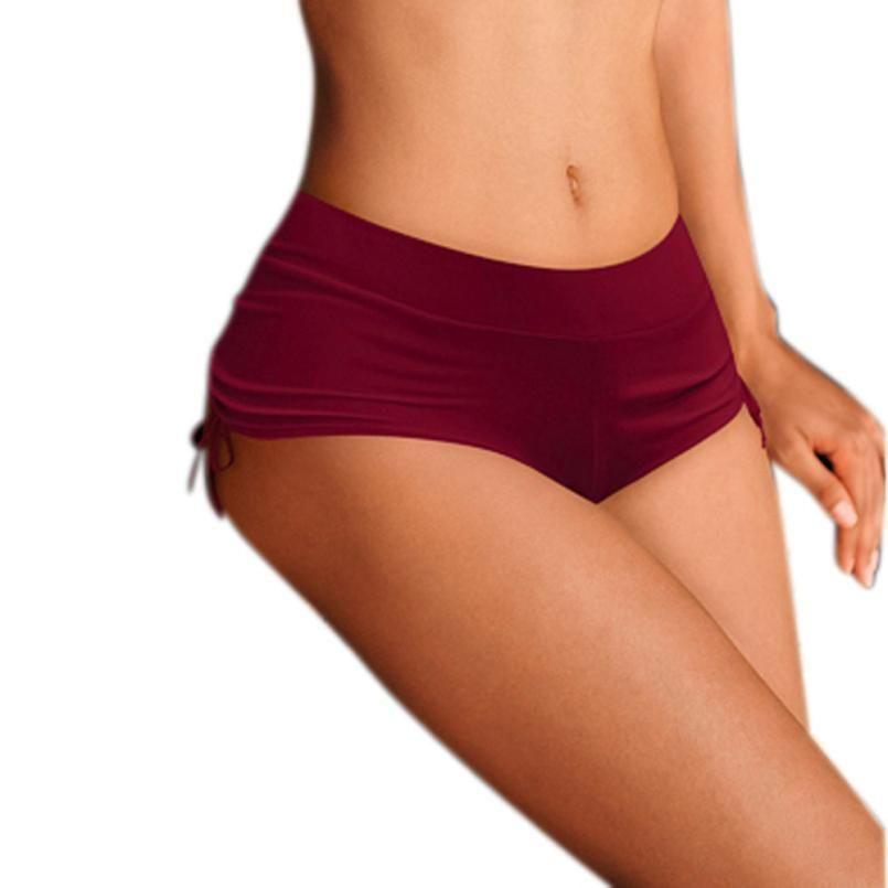 7e669ea4a6cf Traje de baño para mujer Pantalones Pantalones cortos sólidos Calzoncillos  Bikini liso Trajes de baño Partes de abajo Bandas de color sólido para ...