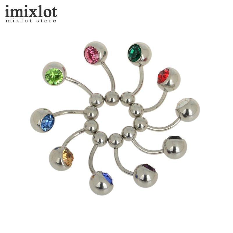 12 Style! anneaux de nombril de femmes en acier inoxydable uv en acier inoxydable piercings nombril pour femmes fille Bell Bar bijoux de corps