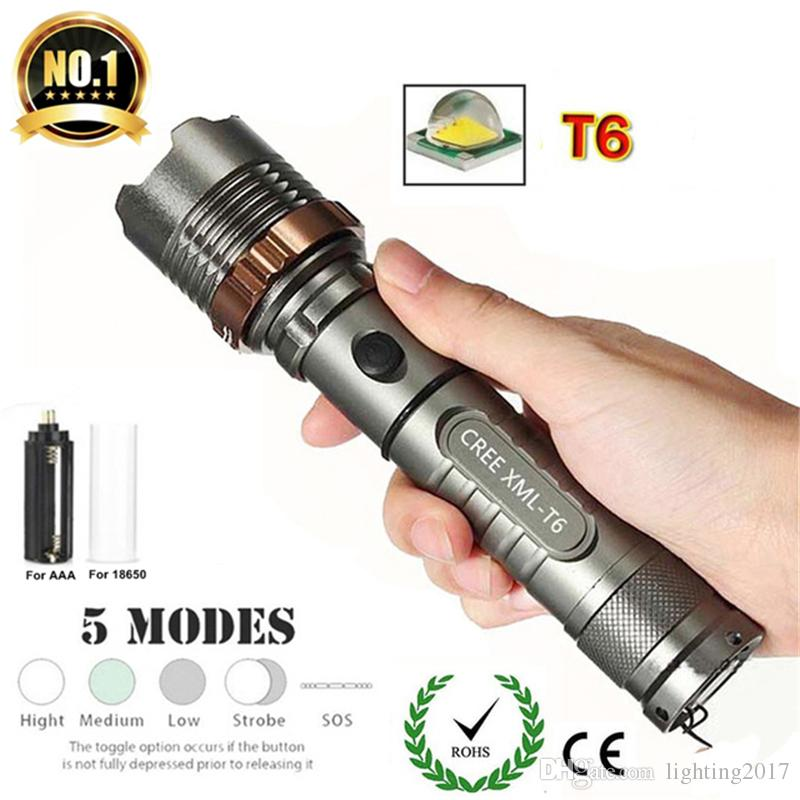 XM-L T6 LED Flashlight 3800lm 5 Modes Zoomable Tactical Flashlight Waterproof Hunting Flash Light for 18650 Battery or 3A Battery