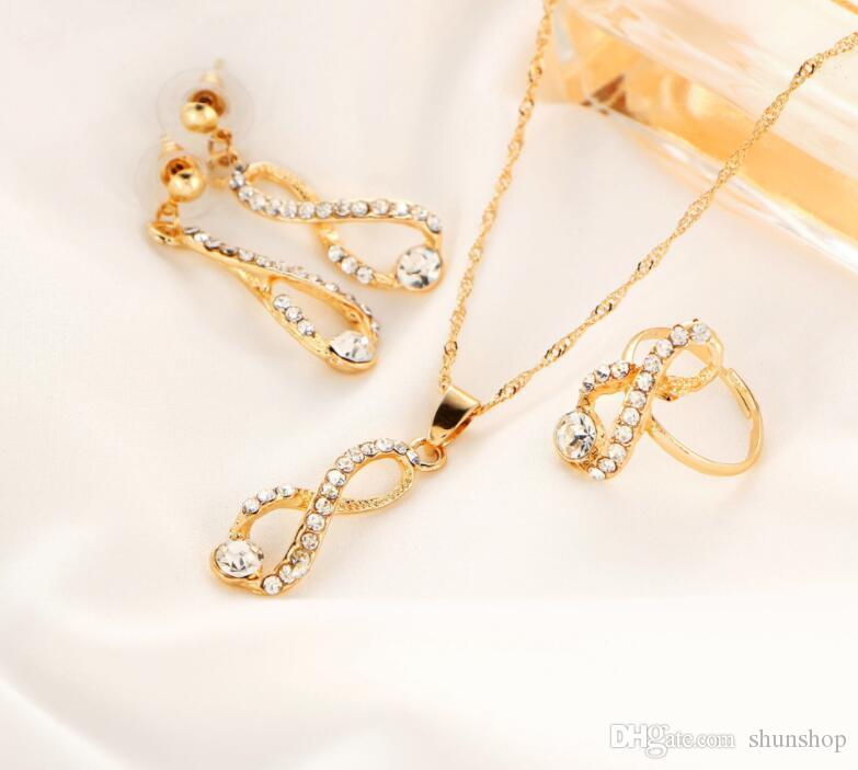 Infinite Bridal Jewelry Set Collana lunga di cristallo Orecchini Anelli Design semplice Gioielli da sposa donna Colore oro