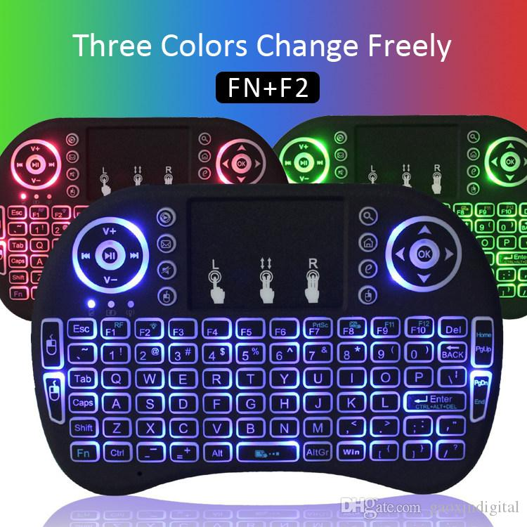 Keyboard Multi Color Backlit RII i8 2.4G Wireless Keyboards Mini Android TV Box Remote Control Air Mouse and keyboard for Tablet PC smart TV