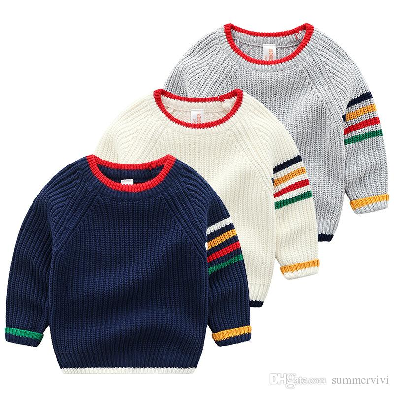 Boys Sweater Children Colorful Stripe Round Collar Long Sleeve