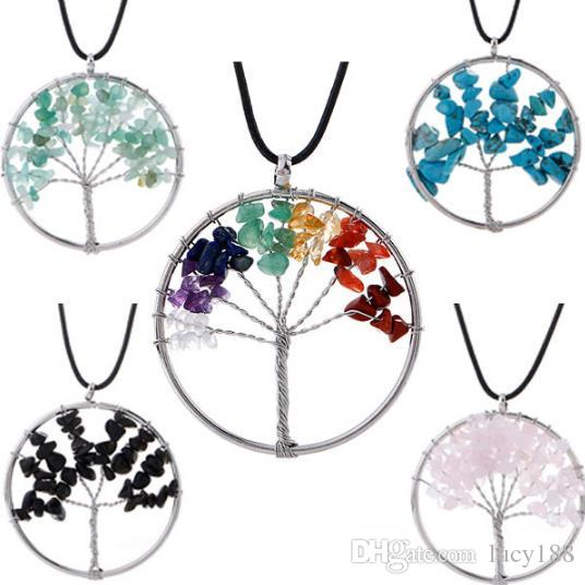 girl charms Ms necklace natural gravel tree life Colorful natural stone Pi rope rich tree women necklace Pendant hot selling