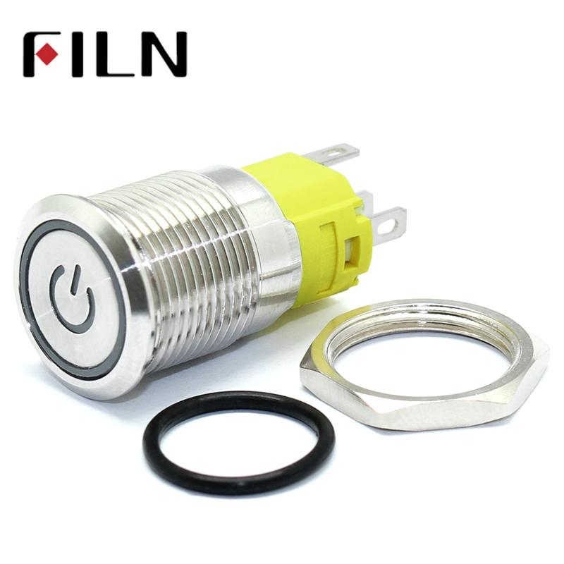 16mm 6V 12V 110V 220V LED Momentary Latching Stainless Steel anti vandal waterproof metal Push Button Switch with Power symbol