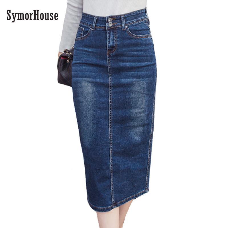 Compre 2018 Falda De Mezclilla Botón Vintage Cintura Alta Lápiz Negro Azul  Mujeres Delgadas Faldas Tallas Grandes S 2XL Oficina De Señoras Sexy Jeans  Faldas ... a8b00b5a1684