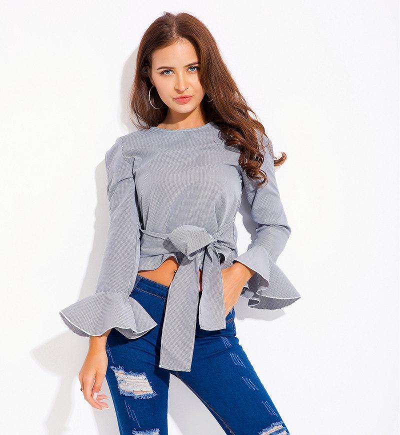 acquisto economico 07d80 d3000 GNIBIEL 2018 donna top e camicette camicia corta stile cinturino a righe  falbala overshirt top bowknot vestido plus size elegant