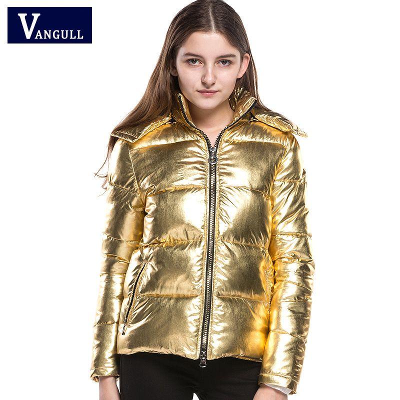 Winterjas Dames Winter 2019.2019 Women Winter Jackets Short Warm Coat Gold Metal Color Bread