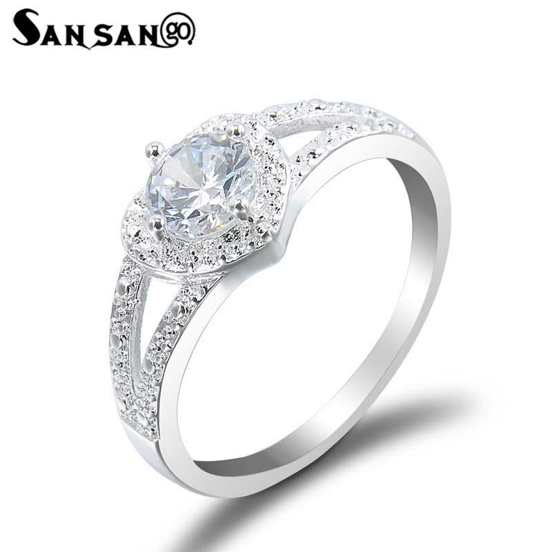 Silver Plated Color Love Heart Crystal Alloy Ring For Girlfriend ... c6b1fa4afb74