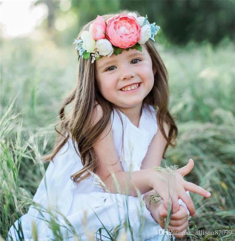 2018 Baby girl set diadema para el cabello Arco de Flores Artificiales de Verano Ala de Ángel Bolas de Bohemia nylon accesorios para el cabello con tarjeta de regalo Al Por Mayor