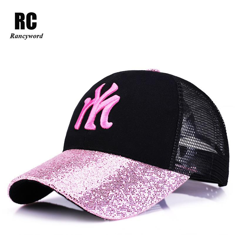 90e5b51fd54 Rancyword 2017 New Branded Baseball Caps Canada Women s Cap With Mesh Bone  Hip Hop Lady Embroidery Hats Sequins RC1134 Ball Cap Wholesale Hats From ...