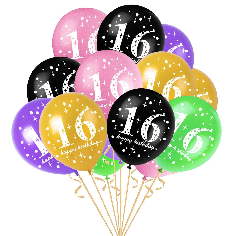 12 Inch 16 Years Old Birthday Balloons Latex Balloons Kids Girls