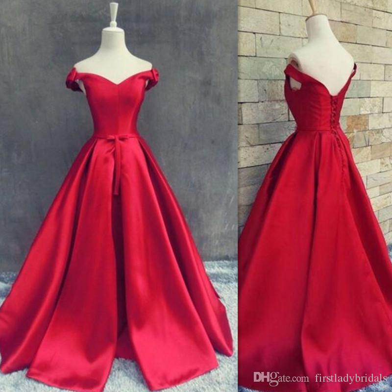 2018 Dark Red Evening Dresses Off Shoulder Satin Real Photo Long Floor  Length Corset Lace Up Simple Special Occasion Prom Party Gowns Shop Evening  Dresses ... 1ba736cbc