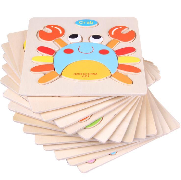 Baby 3D Wooden Puzzles Educational Toys For Child Building Blocks Wood Toy Jigsaw Craft Animals