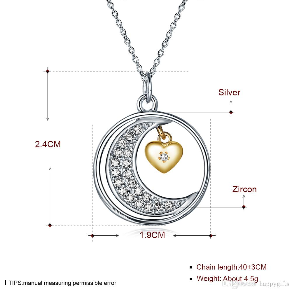 Moon lettering necklace genuine 925 sterling silver Moon and back pendant with chain fashion necklace gorgeous necklace best gifts for her