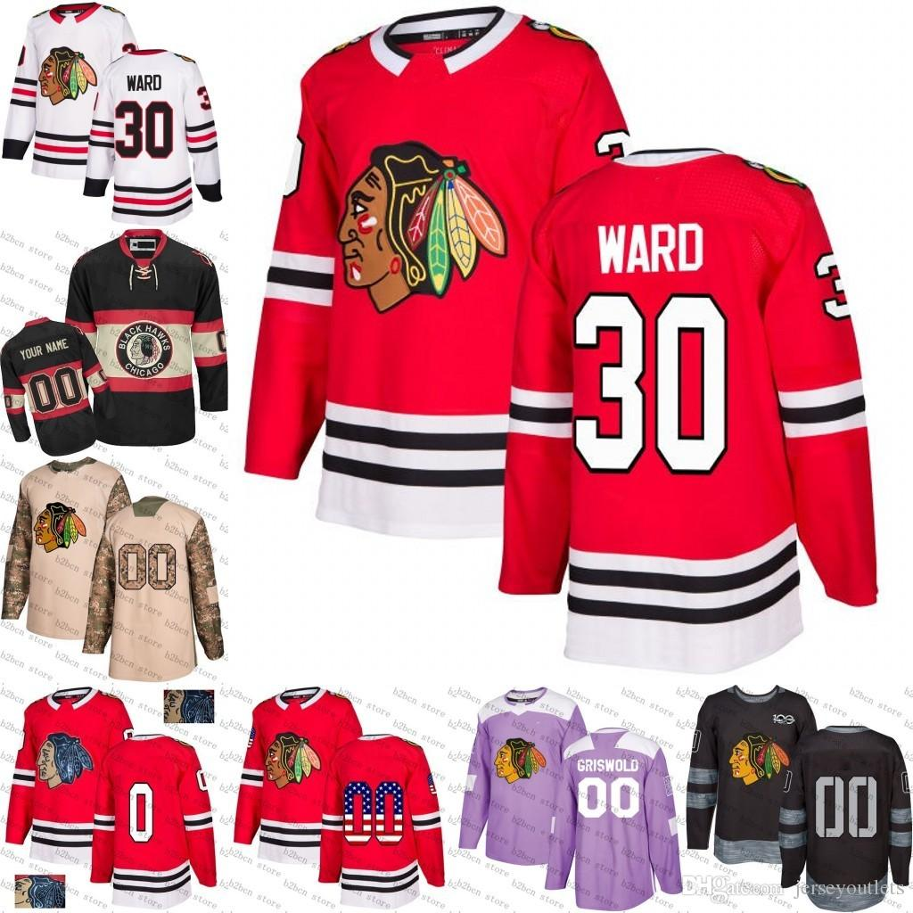 2019 2018 New 30 Cam Ward Chicago Blackhawks Me Blue White Black Gold Black  Camo Hockey Jerseys Stitched S 3XL From Jerseyoutlets afe897c97