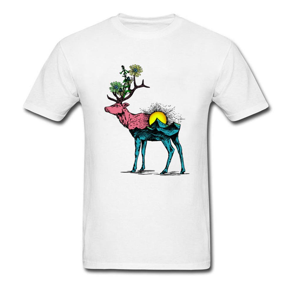 7a1347abd93c Sunrise Flower And Deer Men Latest T Shirt Design Vintage Animal Painting  Tops & Cotton Tees Whimsical Guys Tshirt White Awesome Tee Shirts Teet Shirts  From ...