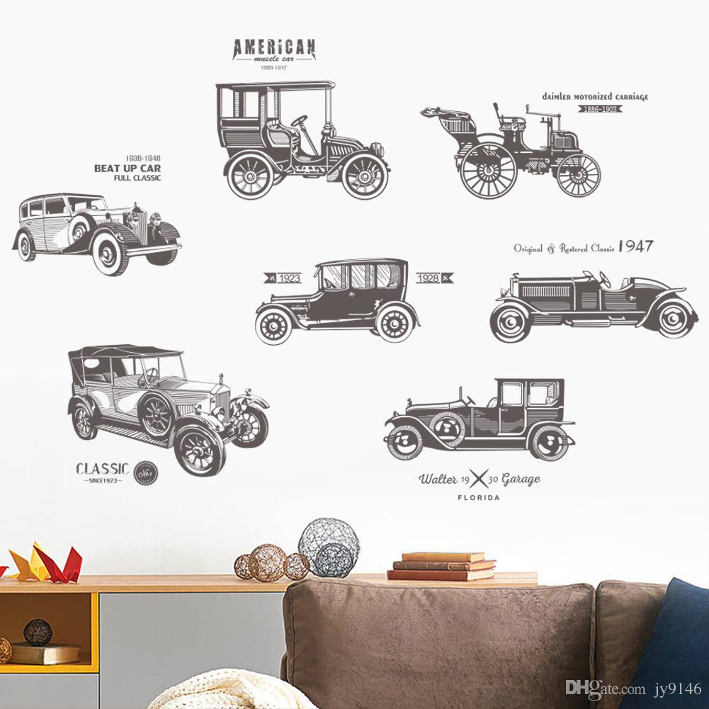 New Vintage Classic Cars Vinyl Wall Stickers DIY removable Time-honored Auto Wall Art for Fans Room Boys Room Study Room Decor
