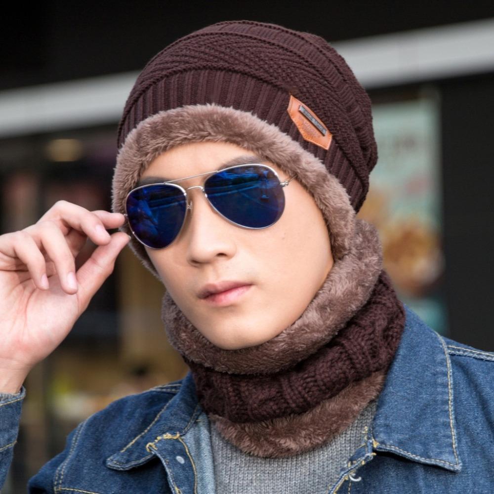 New Fashion Hats Men Winter Wool Ski Hat Scarf Set Head Hooded Cap ... d0c2f55196