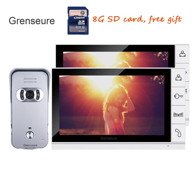 Waterproof Rain Cover E-lock 8g Sd Free Shipping New 7 Door Monitor Video Intercom Door Phone Recorder System 2 Monitors