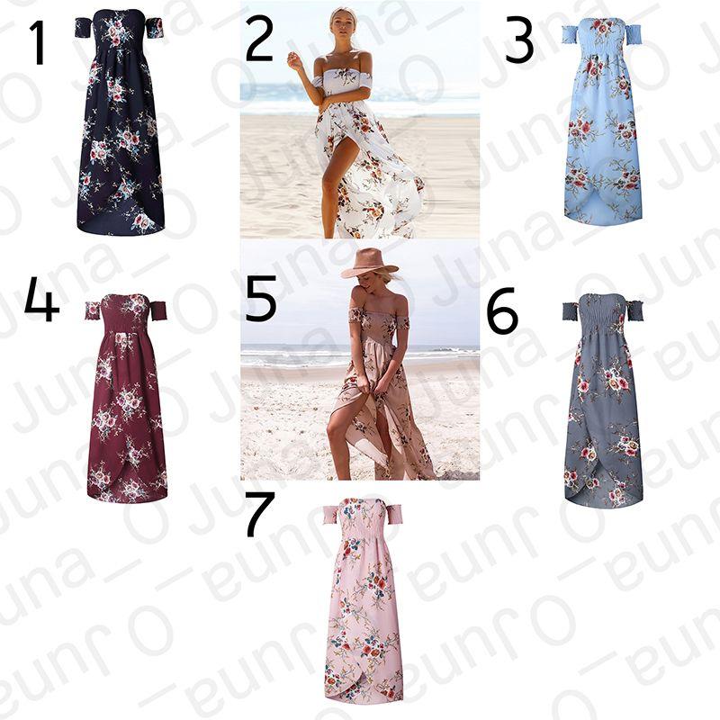 ab487ff937 Women Floral Off The Shoulder Split Chiffon Maxi Beach Dress Wedding Party Boho  Off Shoulder Strapless Summer Beach Floral Slit Maxi Dress Woman Dresses ...