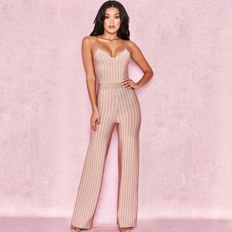 2524bebfff1 2019 2018 Elegant Fashion Women Beige Striped Spaghetti Strap Bandage  Jumpsuit Sexy Summer Celebrity Party Jumpsuits Wholesale Festa From  Elizabethy