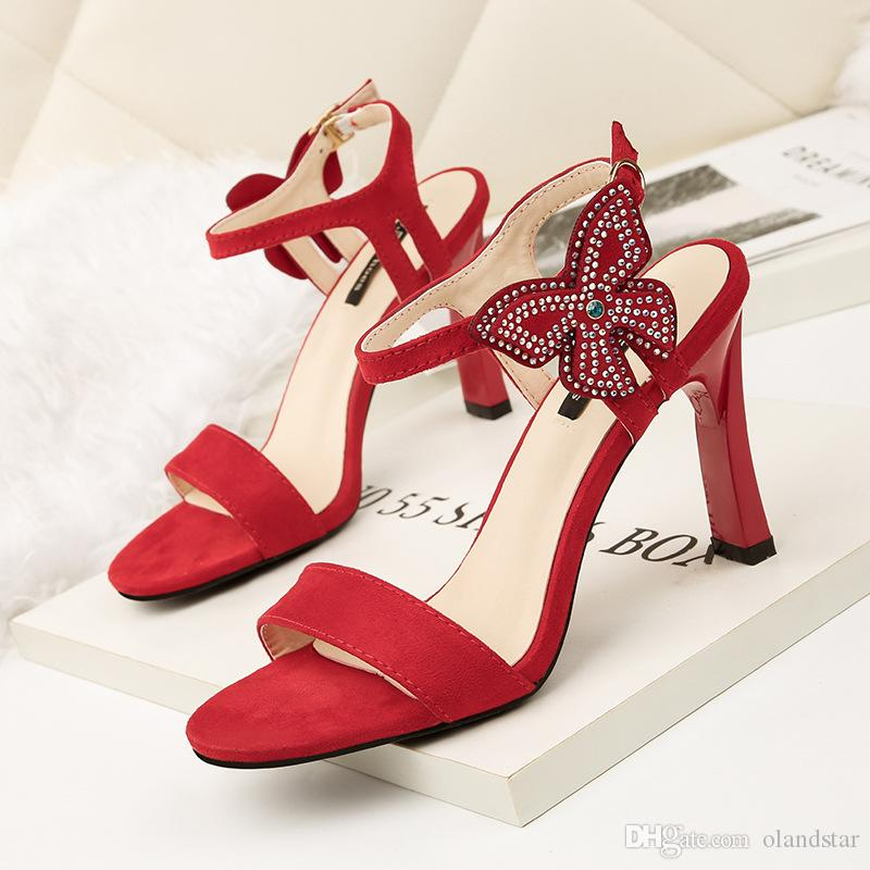 b8781b4557c644 Bowknot Rhinestone Sandals Lady Dress Shoes Women Pumps Heels Open ...