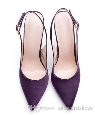 2018 Elegant Women Slingback Shoes Evening Party Satin Ankle Buckle Strap Closed toe Pencil Heel Dress Pumps