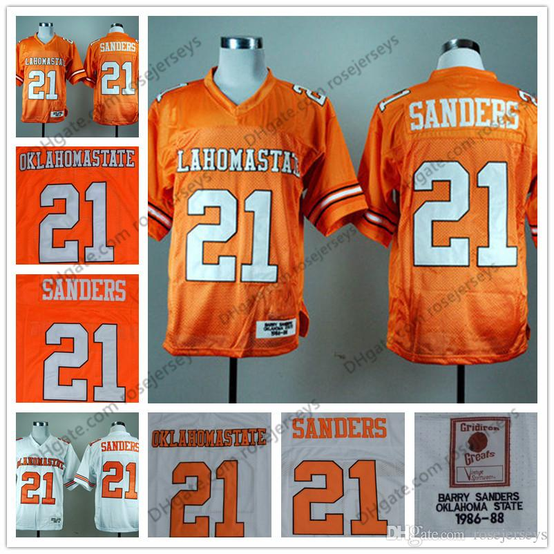 f06fa4a18 ... usa 2018 ncaa oklahoma state cowboys 21 barry sanders retro jerseys  orange white 1986 88 vintage