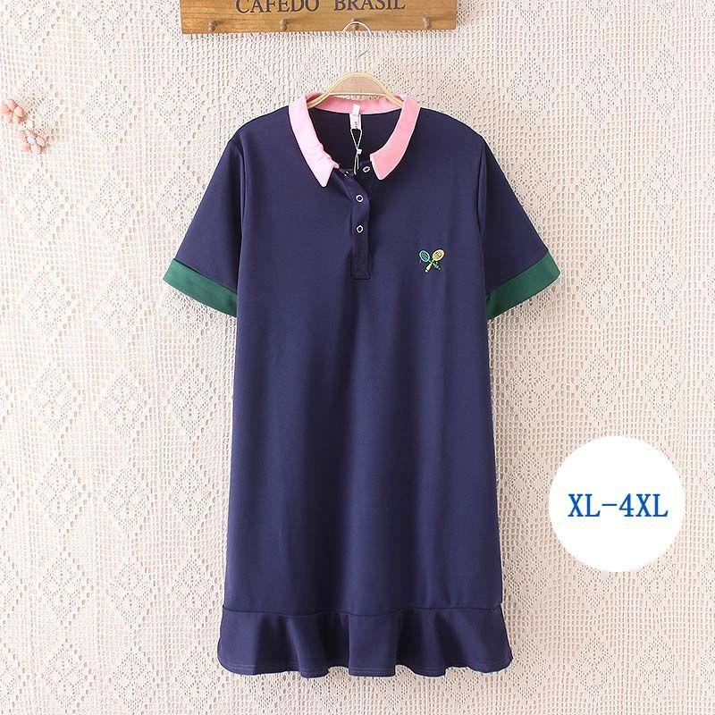 7b7a19573d 2019 HUCOINHOW Tennis Dresses Women Plus Size Polo Neck Dress Tennis  Badminton Sports Dresses XL 4XL From Lvmangguo