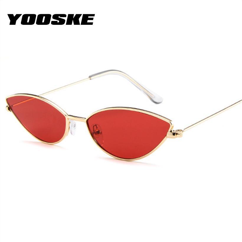 293efa469a YOOSKE Sexy Cat Eye Sunglasses Women Vintage Small Metal Cateye Sun ...