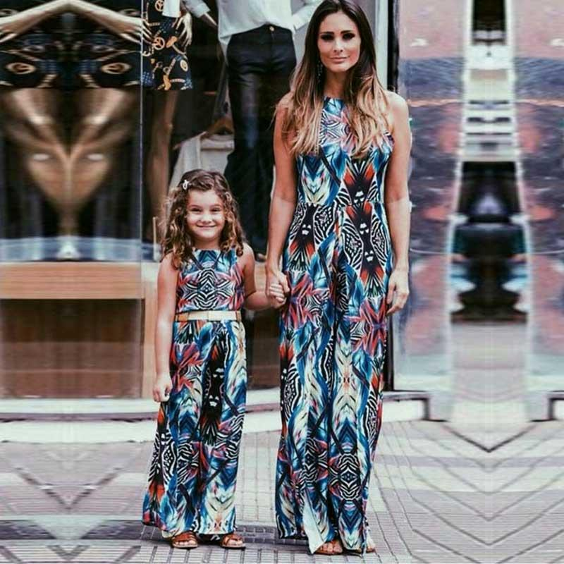 MVUPP Mother Daughter clothes family matching outfits printed sundress baby girl and mommy summer beach maxi dress kids mom