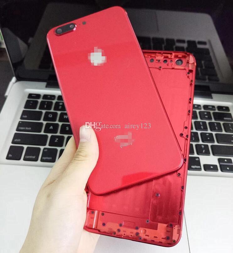 Para iPhone 6 6S 7 Plus Carcasa trasera para iPhone 8 Estilo Metal Vidrio Cubierta trasera roja completa con teclas laterales como 8+